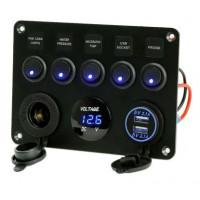Voltometro multi-funzioni 12V con porte USB e interruttori a bilanciere